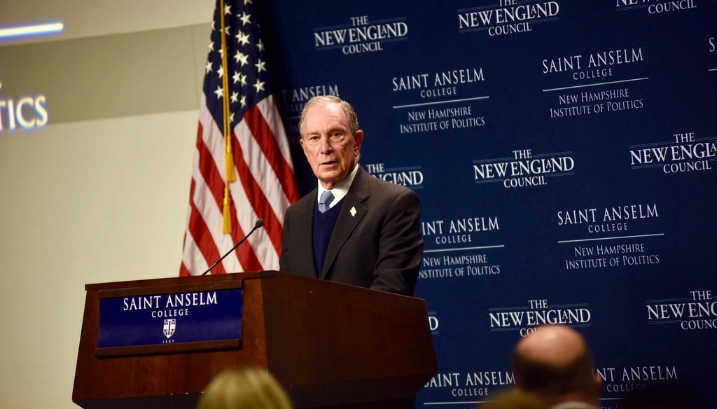 Michael Bloomberg delivered a speech at the New Hampshire Institute of Politics on Jan. 29, 2019. (Courtesy Mike Bloomberg/Facebook)