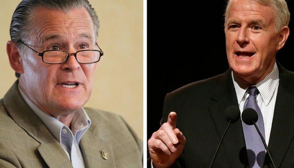 Milwaukee Ald. Bob Donovan (left) is challenging incumbent Mayor Tom Barrett in the April 2016 election. (Milwaukee Journal Sentinel photos)