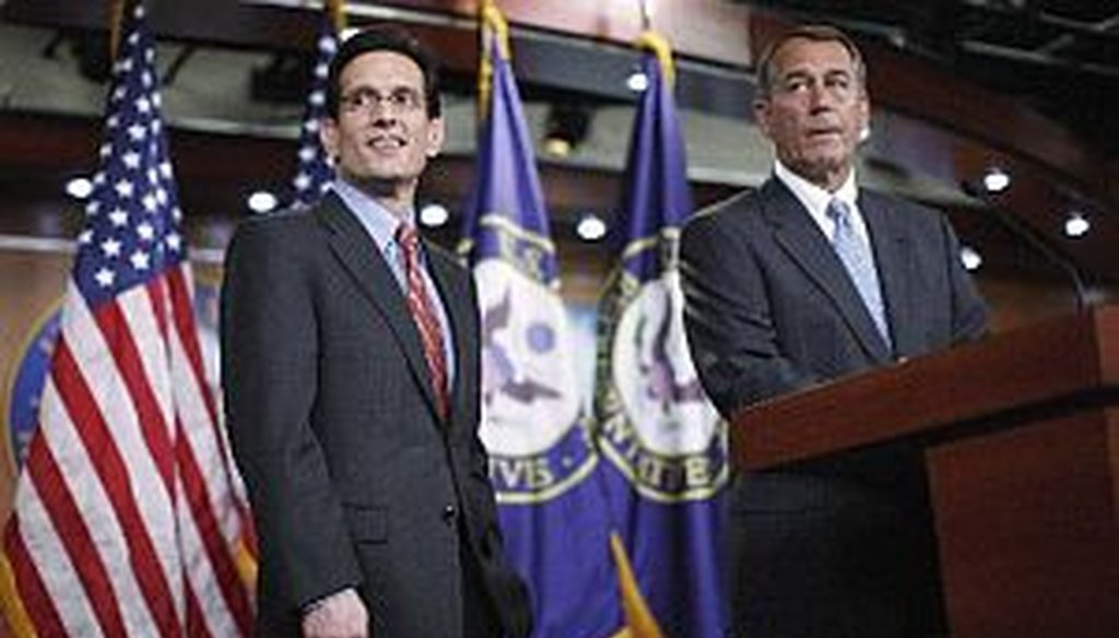 House Majority Leader Eric Cantor, R-Va., and House Speaker John Boehner of Ohio speak at a news conference, on Jan. 6, 2011, to discuss repeal of the health care law.