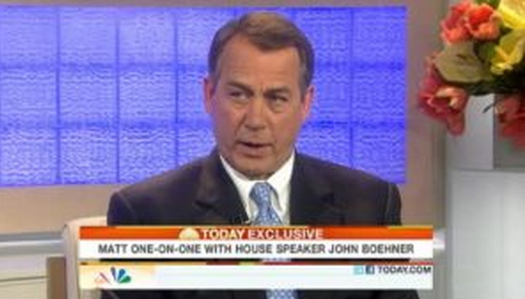House Speaker John Boehner, R-Ohio, appeared on NBC's Today show on May 10, 2011. We checked his facts on job creation.
