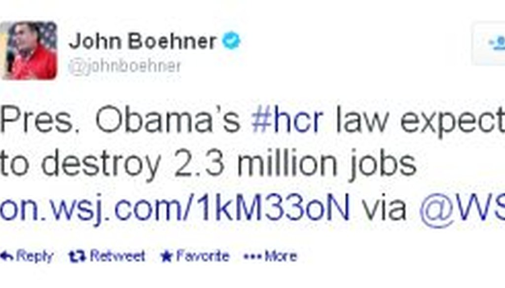 House Speaker John Boehner, R-Ohio, sent this tweet after the CBO published a new report that addressed the impact of President Obama's health care law on jobs, among other things. But is it accurate?
