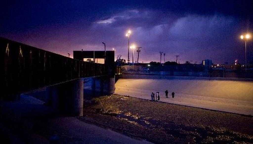 The border crossing between El Paso, Texas, and Ciudad Juarez, Mexico, at dusk.