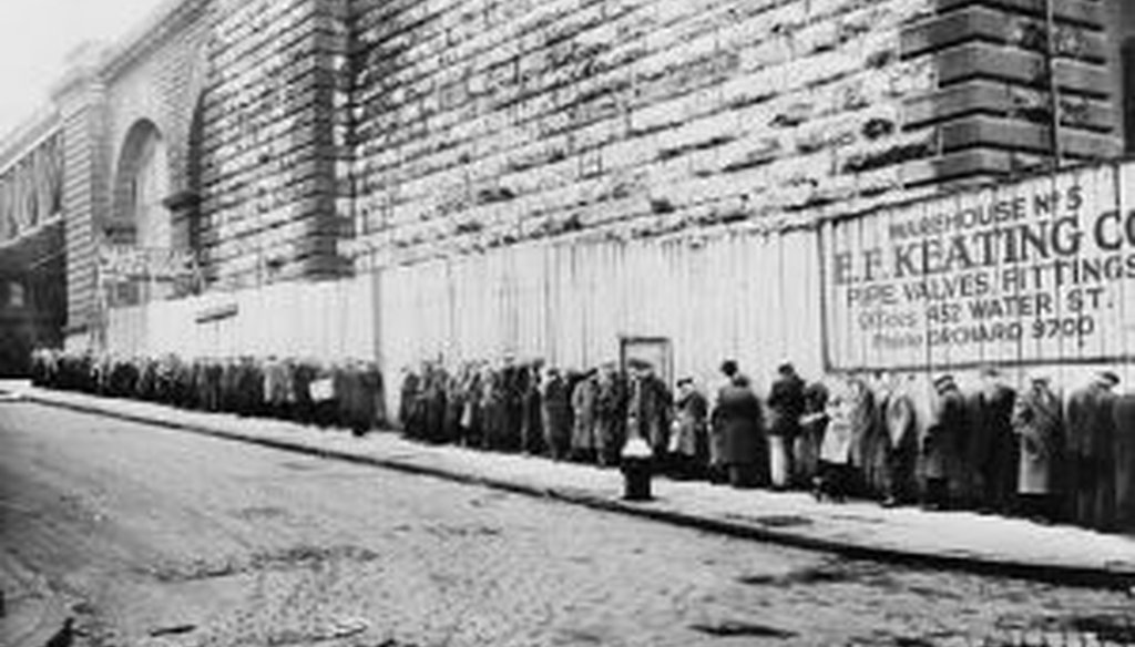 A 1930s-era bread line in New York City. (Library of Congress photo)