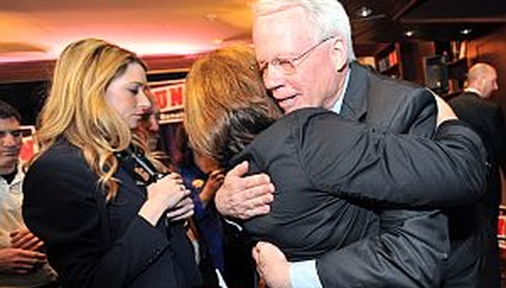 Rep. Paul Broun, R-Ga., gets a hug from a supporter after he made a formal announcement to run to fill Saxby Chambliss' seat in the U.S. Senate on Wednesday, Feb. 6, 2013. Broun says he was the first member of congress to call President Obama a socialist.
