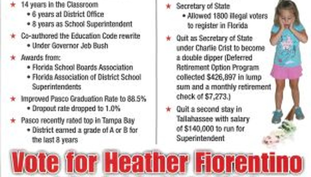 A flier from Heather Fiorentino attacks Kurt Browning in the race for Pasco County schools superintendent.