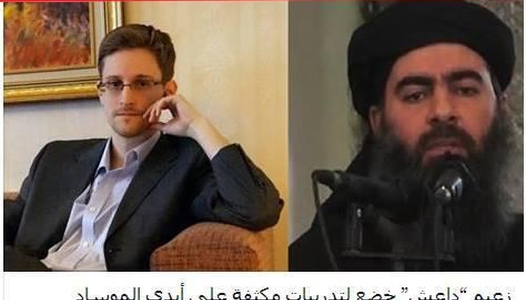 "Posts claim that ""Edward Snowden has revealed that the British and American intelligence and the Mossad (Israel's intelligence agency) worked together to create the Islamic State of Iraq and Syria (ISIS)."""