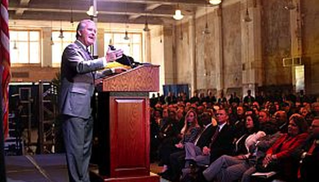 Tampa Mayor Bob Buckhorn gives the State of the City address on March 26, 2013, inside the historic Kress building. (Times photo)