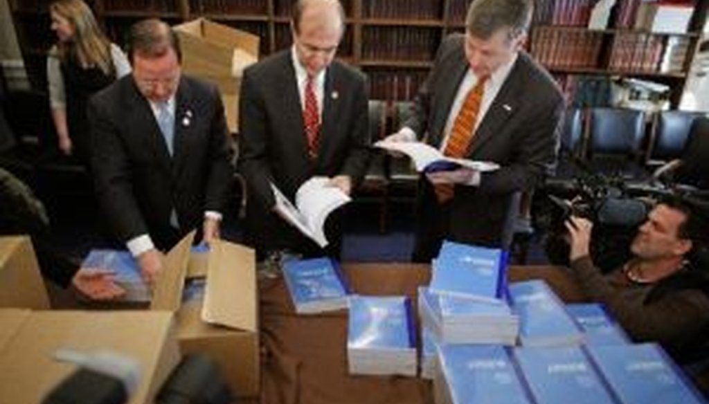Republican House Budget Committee members unloaded boxes of President Obama's proposed budget on Feb. 14.