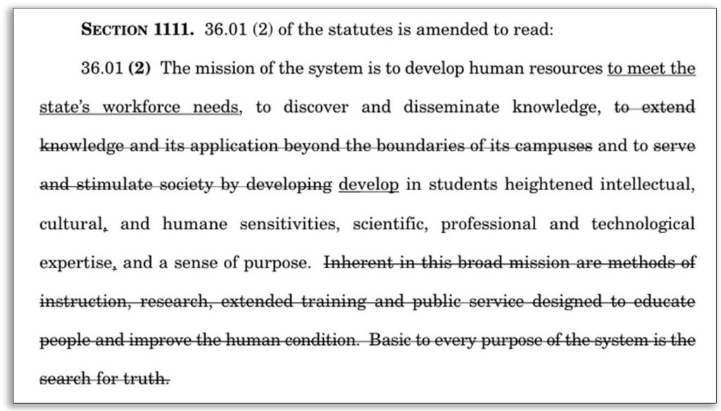 This excerpt from Gov. Scott Walker's 2015-'17 budget reframes the mission of the University of System, essentially removing the Wisconsin Idea, a guiding principle of the system that emphasizes service to state government and citizens.