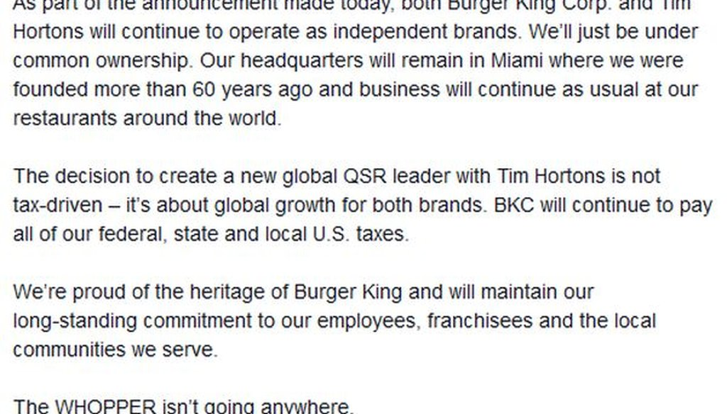 Here's what Burger King posted on Facebook about its deal with Canadian chain Tim Horton's.