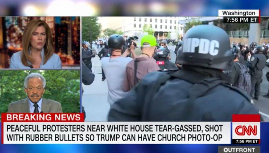 """CNN host Erin Burnett interviews former CNN anchor Bernard Shaw on her show, """"OutFront,"""" on June 1, 2020. (Screenshot)"""