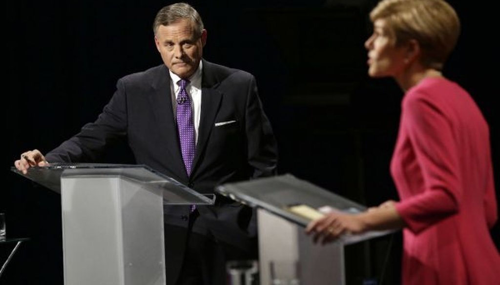 Sen. Richard Burr, R-N.C., listens to Democratic challenger Deborah Ross during a debate in Research Triangle Park, N.C., on Oct. 13, 2016. (AP/Gerry Broome, Pool)