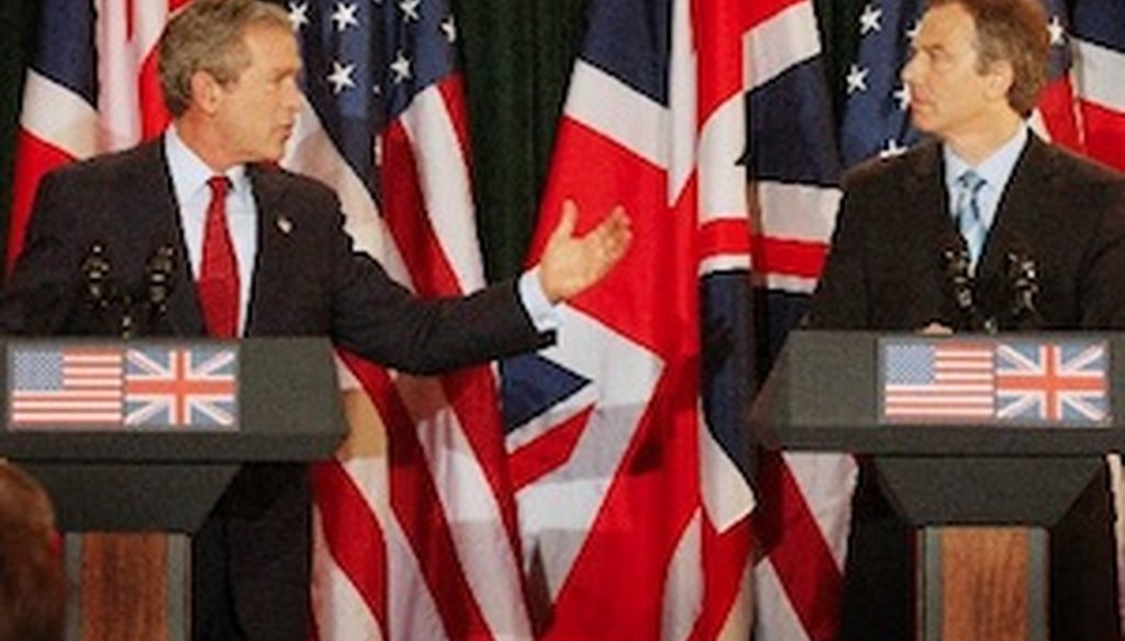 President George W. Bush and British Prime Minister Tony Blair discussed their partnership on the Iraq war during a press conference near Belfast, Northern Ireland. (2003 AP Photo)