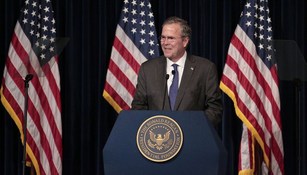 Republican presidential candidate Jeb Bush speaks at the Ronald Reagan Presidential Library in Simi Valley, Calif., on Aug. 11, 2015. (Getty Images)