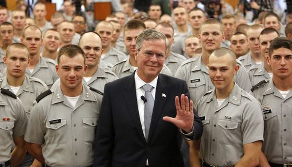 Former Florida Gov. Jeb Bush spoke at the Citadel on Nov. 18, 2015. (Associated Press)