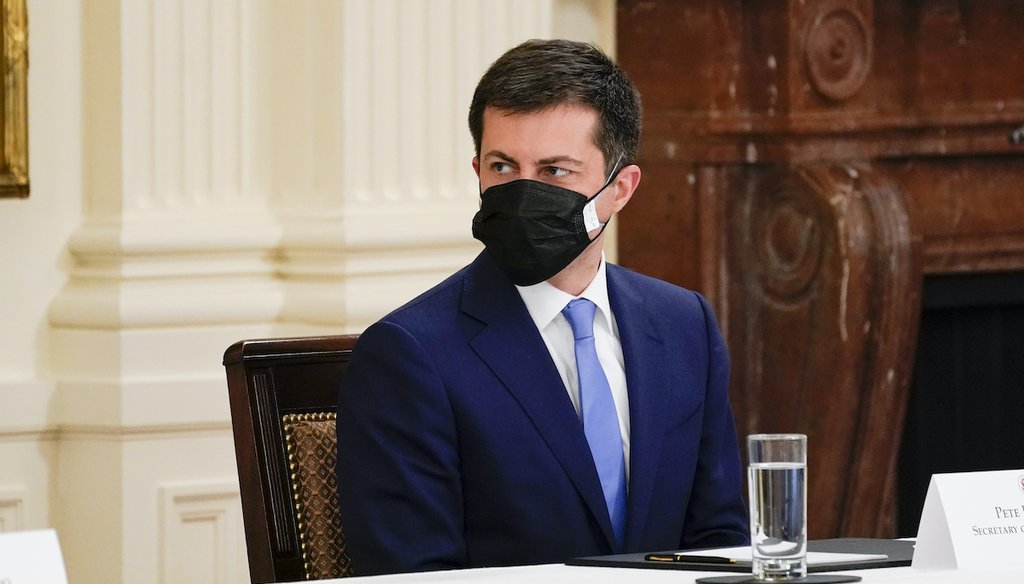 U.S. Transportation Secretary Pete Buttigieg attends a Cabinet meeting with President Joe Biden in the East Room of the White House, Thursday, April 1, 2021, in Washington. (AP)