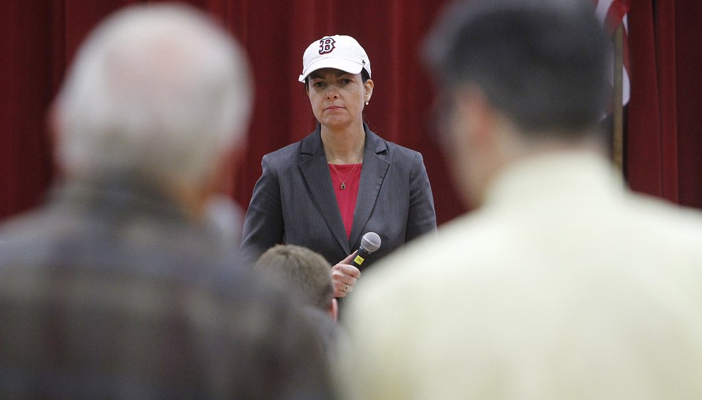 Senator Kelly Ayotte, R-NH, holds a town hall meeting in Hudson, N.H. on Oct. 24, 2013
