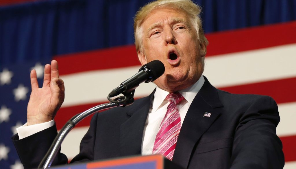 Donald Trump heaped criticism on Tim Kaine during an Aug. 20 rally in Fredericksburg, Va. (AP photo).