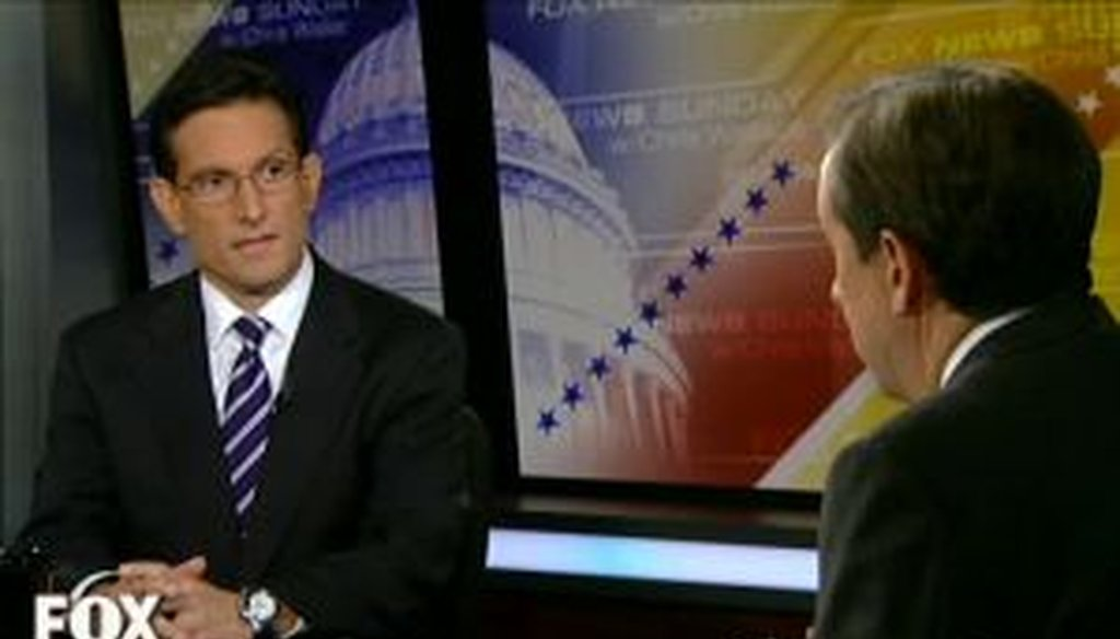 "House Majority Leader Eric Cantor, R-Va., said on ""Fox News Sunday"" that the deficit is ""growing."" Is that correct?"