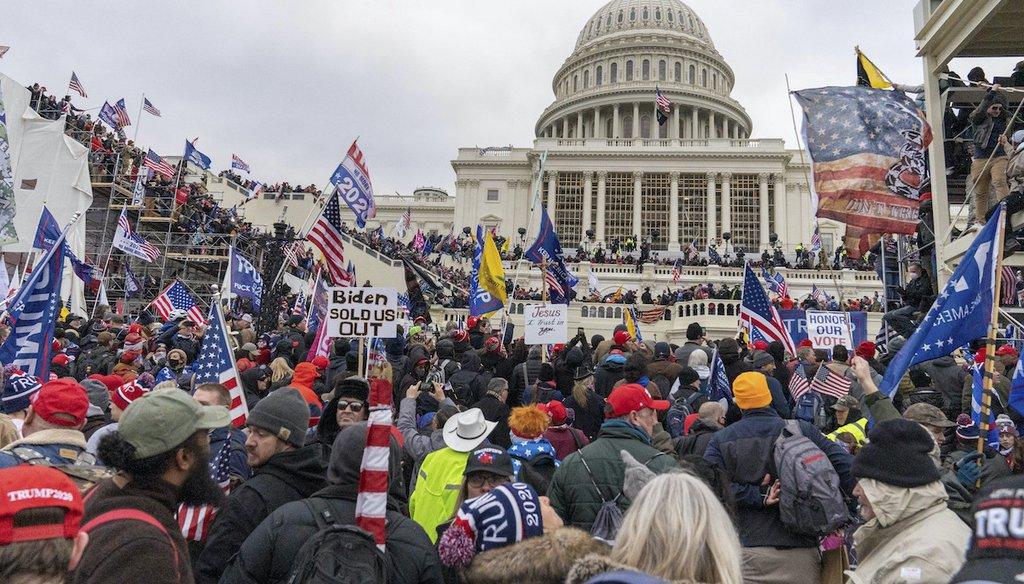 Capitol rioters on January 6, 2021. (Mihoko Owada/STAR MAX/IPx 2021 via AP)