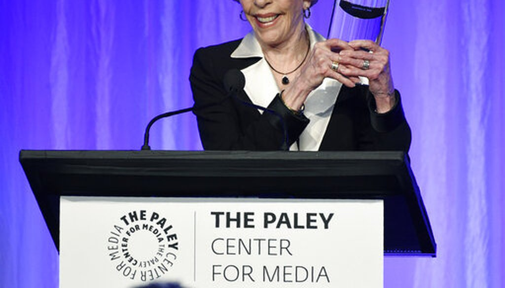 "Honoree Carol Burnett accepts her award onstage at ""The Paley Honors: A Special Tribute to Television's Comedy Legends"" at the Beverly Wilshire Hotel, Thursday, Nov. 21, 2019, in Beverly Hills, Calif. (AP)"