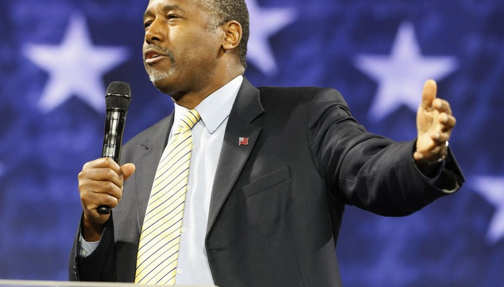 Republican presidential candidate Dr. Ben Carson speaks at Liberty University in Lynchburg, Va., on Nov. 11, 2015. (AP Photo)