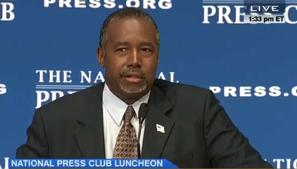 Republican presidential candidate Ben Carson discussed his thoughts about Nazi era gun policies during a National Press Club speech. (Screengrab)