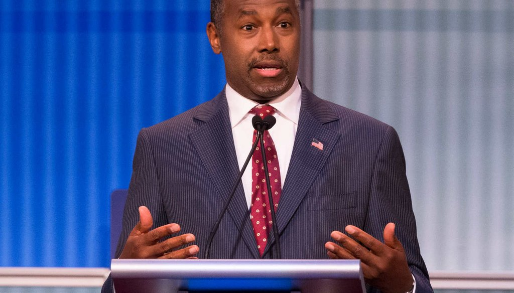 Republican presidential candidate Ben Carson speaks during the first Republican presidential debate in Cleveland, Ohio. (AP)