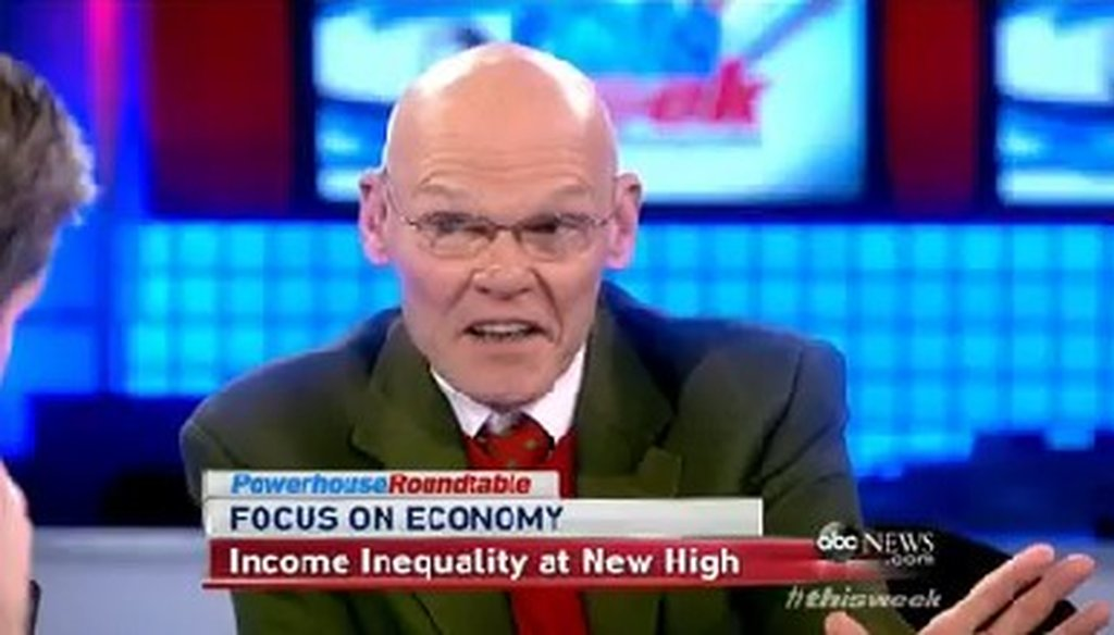 "Democratic pundit James Carville appeared on the Sunday, Dec. 8, 2013, episode of ABC's ""This Week."""