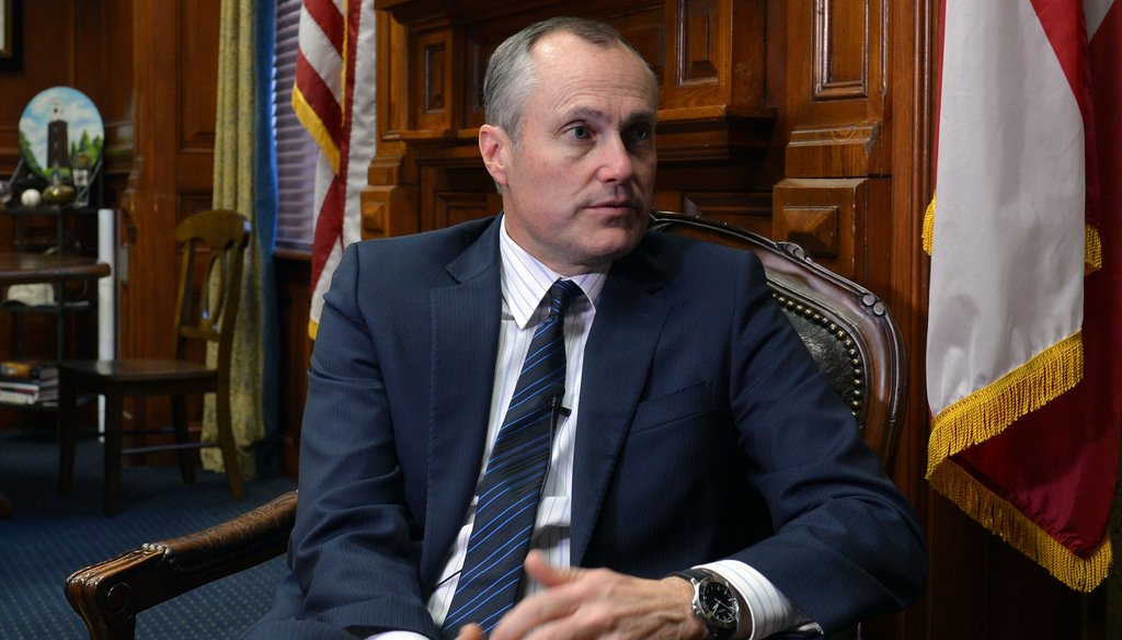 Georgia Lt. Gov. Casey Cagle answers questions during an interview with Atlanta Journal-Constitution reporter Kristina Torres. Photo credit: Brant Sanderlin/AJC.