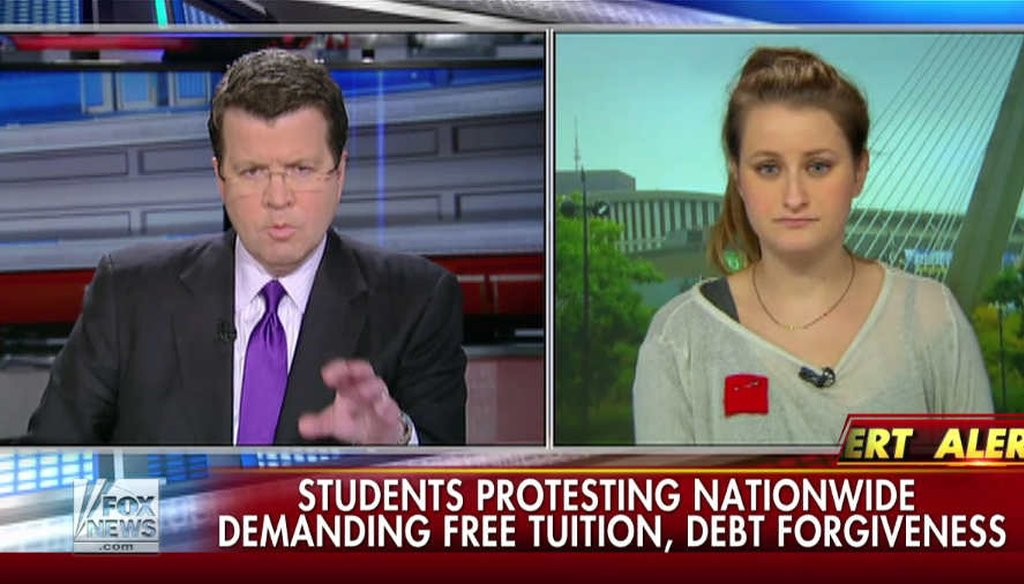 Fox News host Neil Cavuto challenges student debt organizer Keely Mullen on how to pay for free public school tuition. (Screengrab)