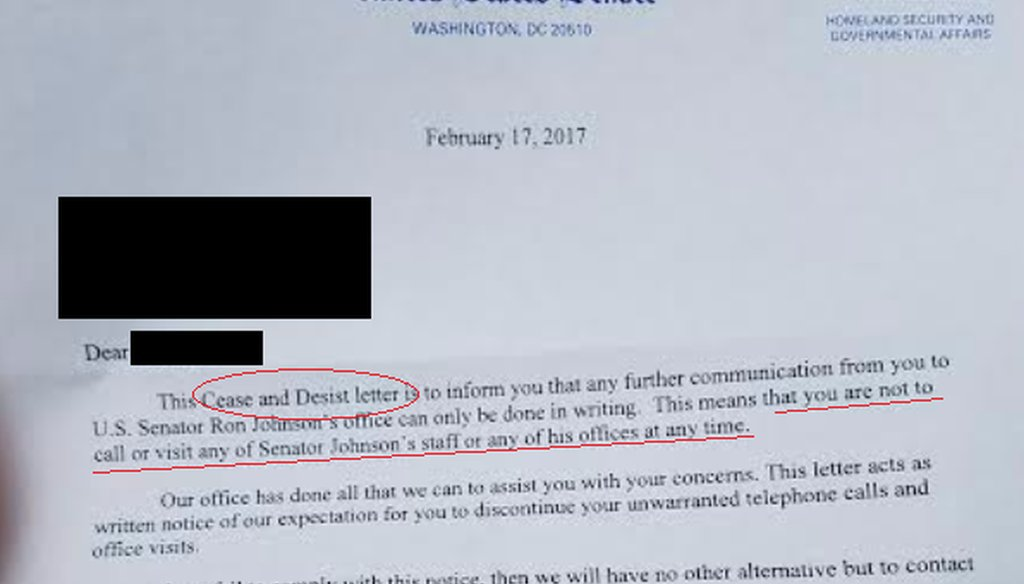 Citizen Action of Wisconsin says U.S. Sen. Ron Johnson, R-Wis., cracks down on dissenters and posted this letter as evidence.