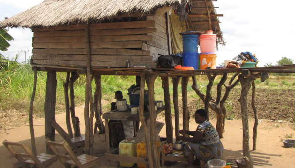 Shacks on stilts are common near Tanzania's rice fields where some of the poorest farmers live. (Jon Greenberg)