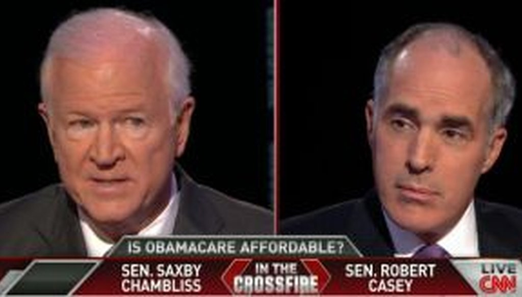 "Sen. Saxby Chambliss, R-Ga., faced off against Sen. Bob Casey, D-Pa., on CNN's ""Crossfire."""