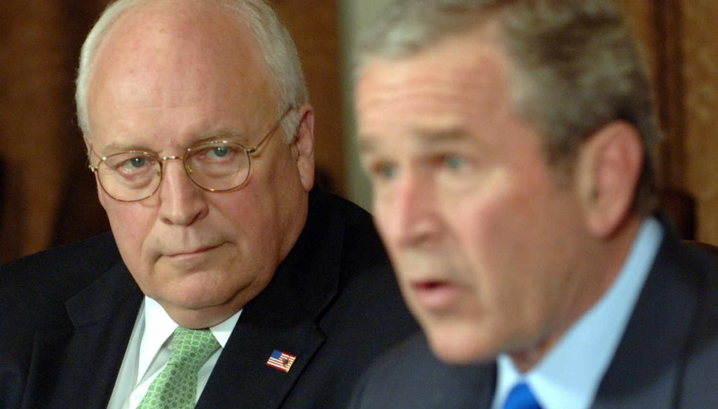Vice President Dick Cheney listens as President George W. Bush speaks during a meeting with military leaders in the Cabinet Room of the White House Jan. 24, 2007, in Washington.