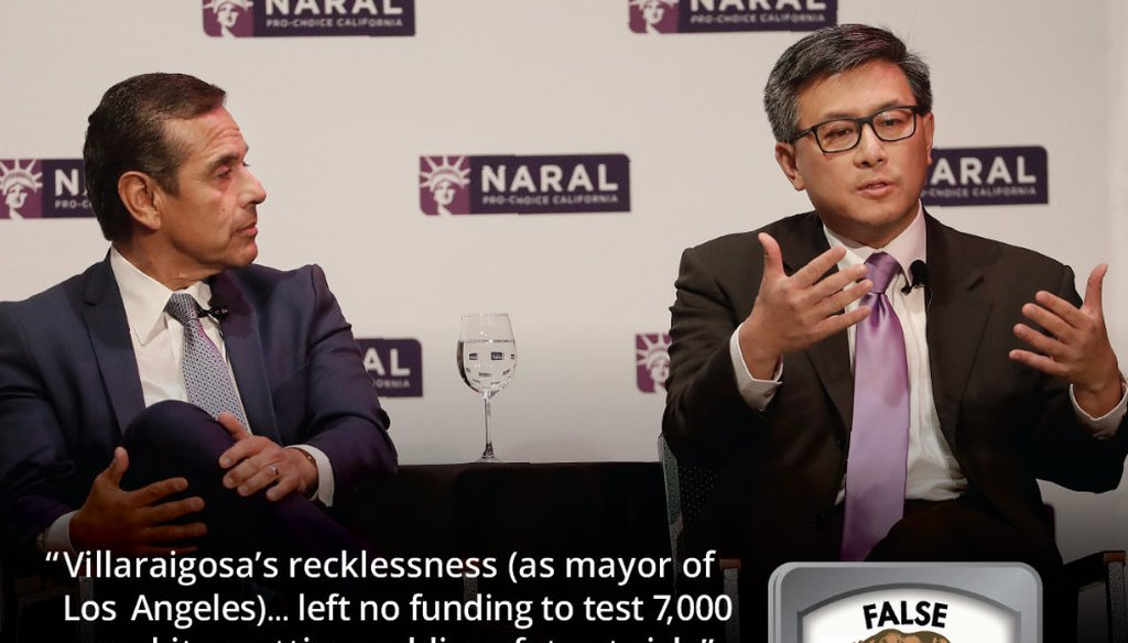 Democratic Candidates for California Governor John Chiang, right, speaks next to Antonio Villaraigosa at a NARAL Pro-Choice California event in San Francisco, Tuesday, Jan. 30, 2018. (AP Photo/Jeff Chiu)