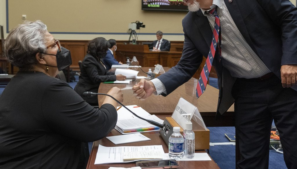 Texas State Democratic Rep. Senfronia Thompson, left, receives a fist bump from Rep. Chip Roy, R-Texas, Thursday, July 29, 2021, on Capitol Hill in Washington. (AP Photo/Jacquelyn Martin)