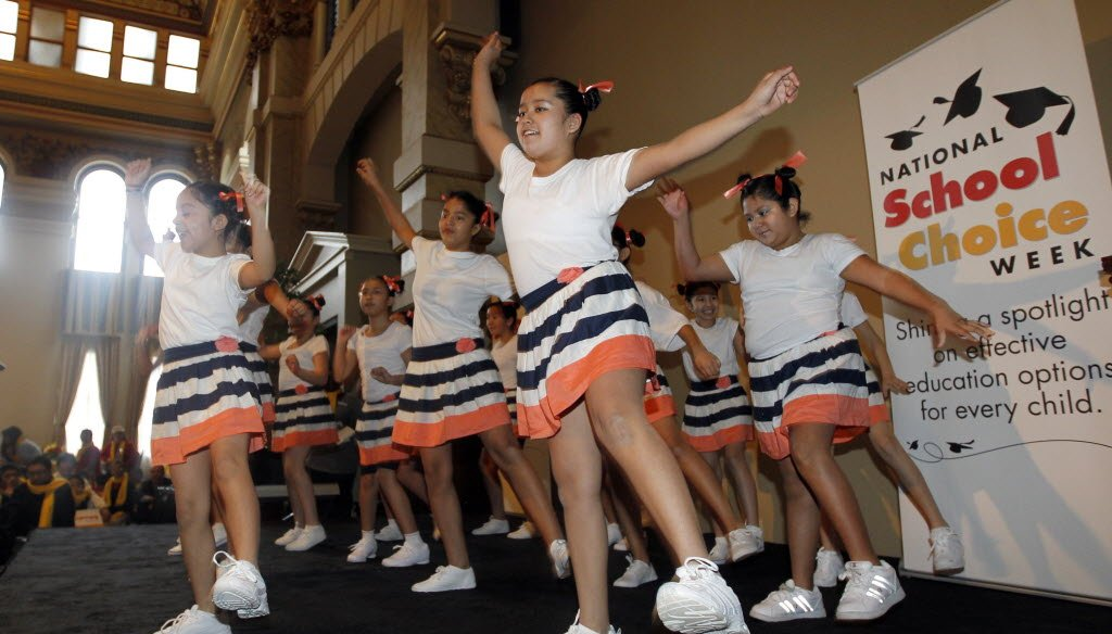 Students from St. Anthony School in Milwaukee performed in January 2013 during an event marking school choice week.