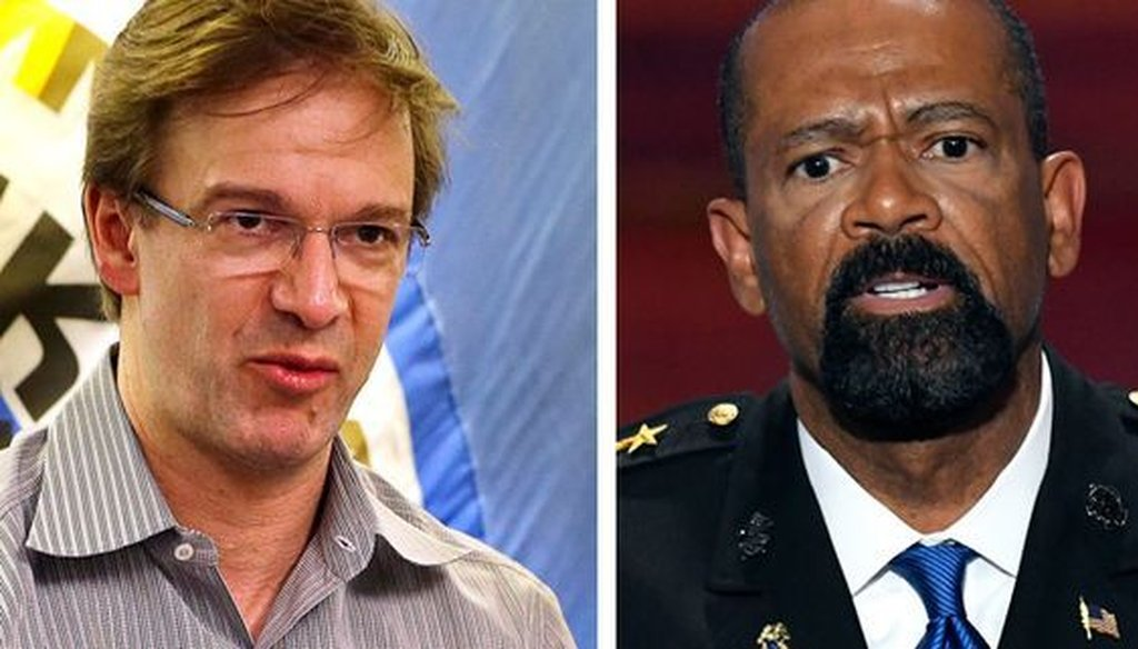 Milwaukee County Executive Chris Abele (left) and Milwaukee County Sheriff David A. Clarke Jr. have often clashed.