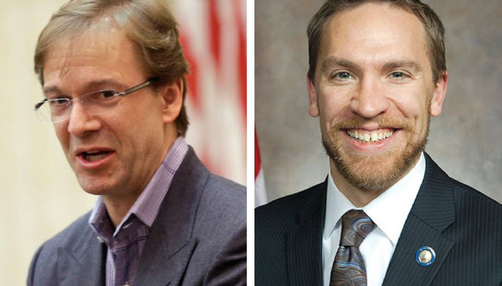 Milwaukee County Executive Chris Abele (left) is being challenged in the April 2016 county executive race by a fellow Milwaukee Democrat, state Sen. Chris Larson. (Journal Sentinel photos)