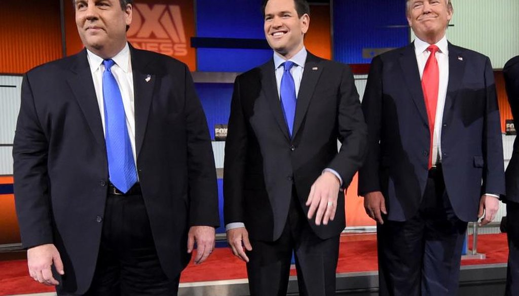 Chris Christie sparred with Marco Rubio during the Republican debate in South Carolina Jan. 14, 2016. (AFP/Getty Images)