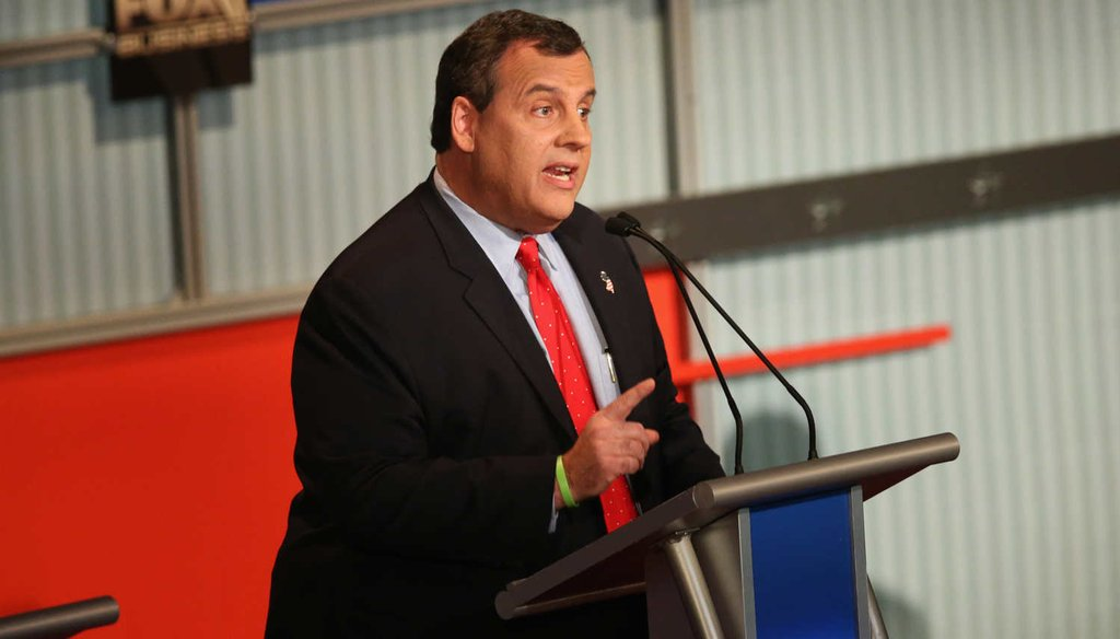New Jersey Gov. Chris Christie makes a point at the fourth Republican presidential debate. (Getty Images)