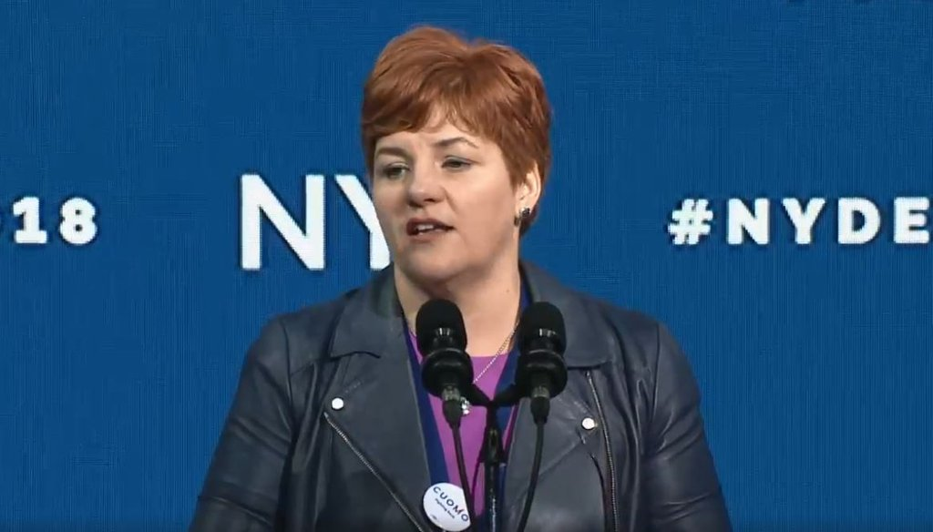 Christine Quinn, the vice chairperson of the state Democratic party, claimed New York state has the second highest tax on the wealthy in the country. (Courtesy: NYS Democratic Party livestream)