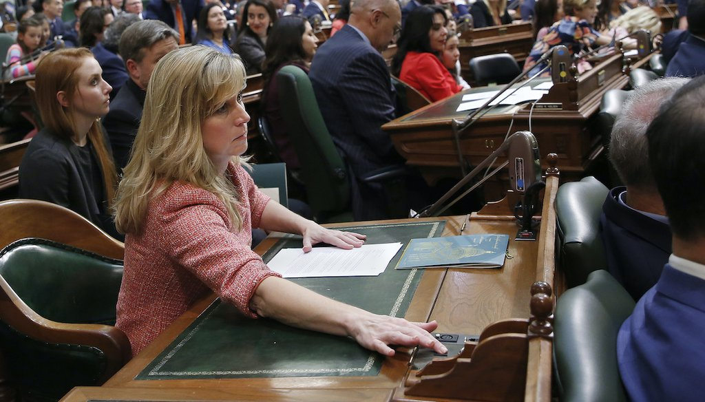 Democrat Christy Smith is a California state lawmaker and former school board member running against Rep. Mike Garcia (R-Cali.) for the 25th District congressional seat, north of Los Angeles. In this 2018 file photo, she casts a vote in Sacramento. (AP)