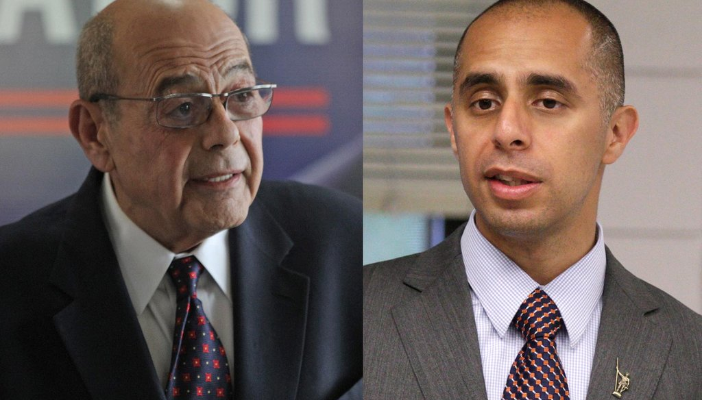 "Vincent ""Buddy"" Cianci, an Independent, and Jorge Elorza, a Democrat, both candidates for mayor of Providence (The Providence Journal / Steve Szydlowski and Kris Craig)"