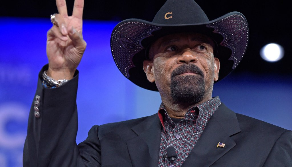 Milwaukee County Sheriff David Clarke speaks at the Conservative Political Action Conference  in 2017 (File photo)