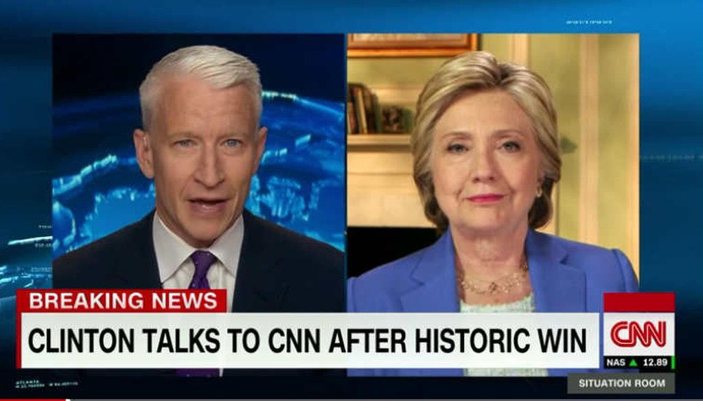 Hillary Clinton responded to attacks tied to the Clinton Foundation during a CNN interview. (screenshot)