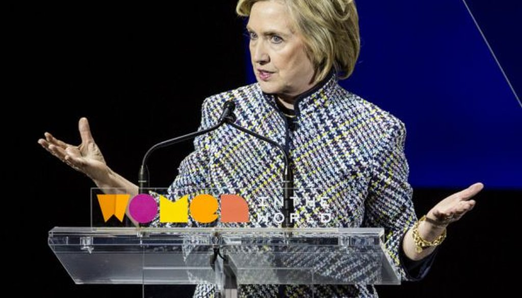 Democratic presidential hopeful and former Secretary of State Hillary Clinton addresses the Women in the World Summit on April 23, 2015, in New York City.