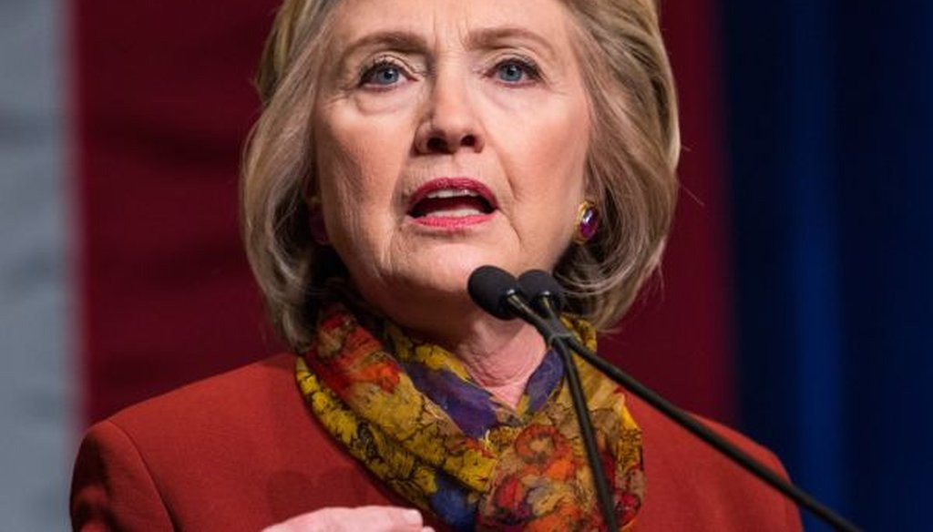 Democratic presidential candidate Hillary Clinton gives an address at the Schomburg Center for Research in Black Culture on Feb. 16, 2016, in New York City. (Photo by Andrew Burton/Getty Images)