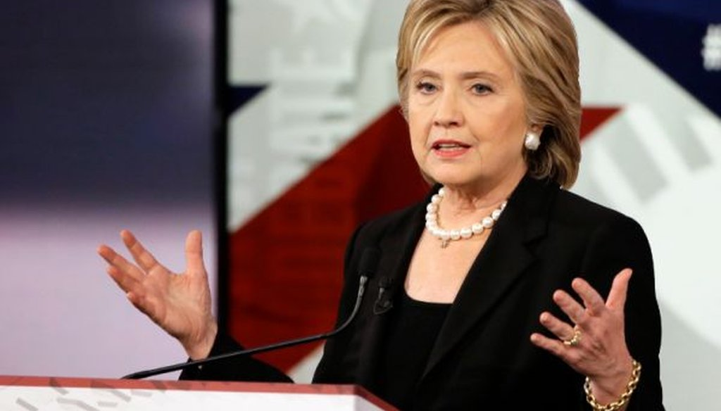 Hillary Clinton was one of three Democrats in the presidential debate in Des Moines, Iowa. (Associated Press photo)